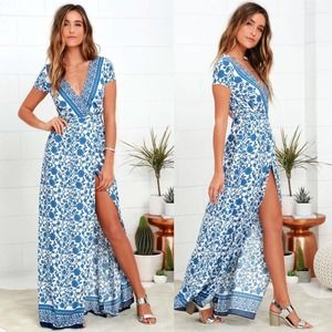 Lulu's | Ivory and Blue Floral Print Wrap Maxi Dress
